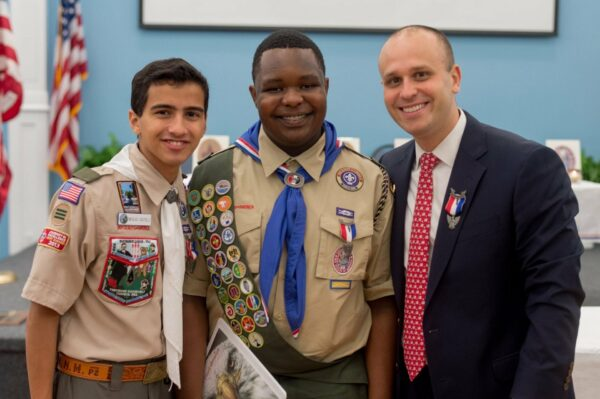 Shane Jackson (center) with fellow Eagle Scouts Nicholas Castelli '17 & Jeffery Harris '03